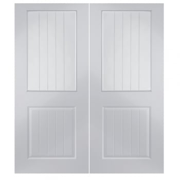 Jeld-Wen Internal White Moulded Newbridge Vertical Etch Clear Pair Door