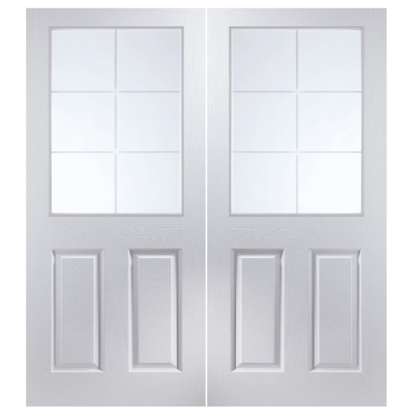 Internal White Moulded Unfinished Bostonian Oakfield 12L Pair Door with Etched Clear Glass  sc 1 st  Leader Doors & Jeld-Wen Internal White Moulded Unfinished Bostonian Oakfield Glazed ...