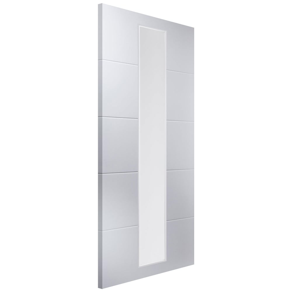 Internal White Moulded Unfinished Linea 1L Door With Etched Clear Glass