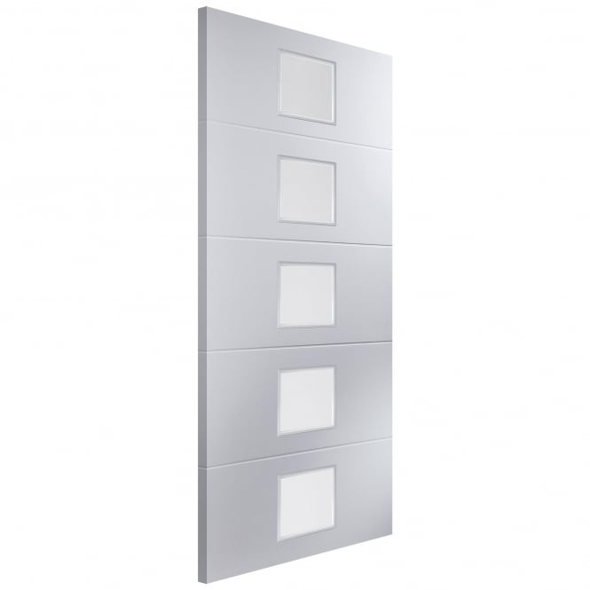 Jeld-Wen Internal White Moulded Unfinished Linea 5L Door with Etched Clear Glass