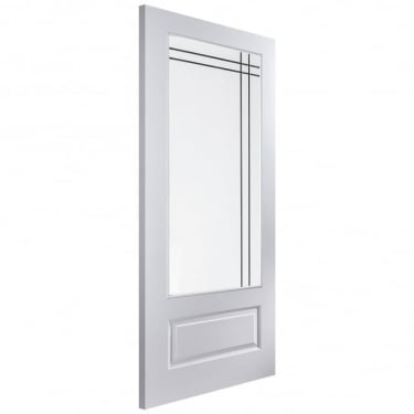 Internal White Moulded Unfinished Rockport 1L Door with Leaded Glass