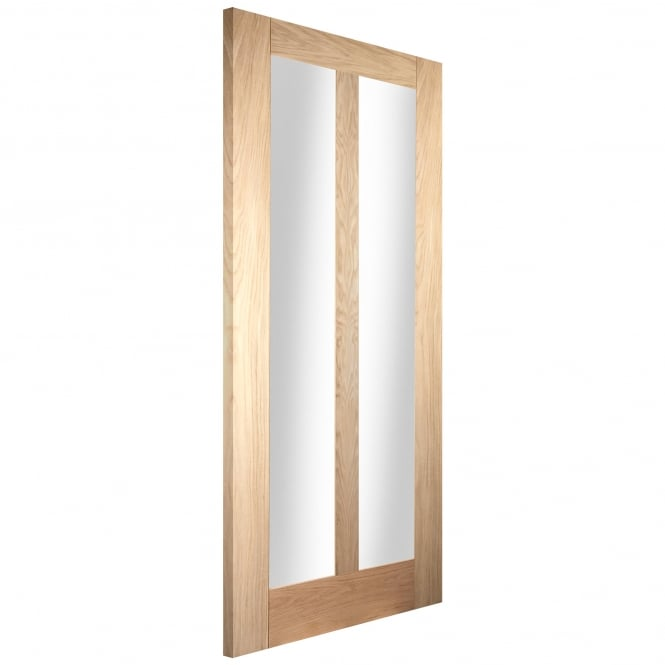 Jeld-Wen Internal White Oak 2 Light Clear Glass Door