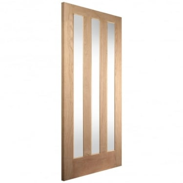 Internal White Oak Aston 3 Light Obscure Glass Door