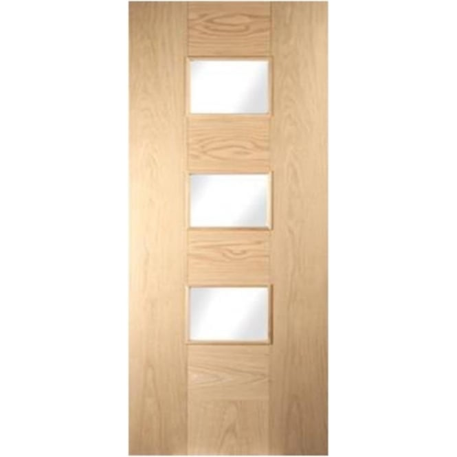 Jeld-Wen Internal White Oak Cube 3 Light Etch Glass Door