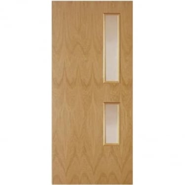 Internal White Oak Fully Finished Crown Cut GC05 2L Flush FD30 Fire Door with Clear Glass