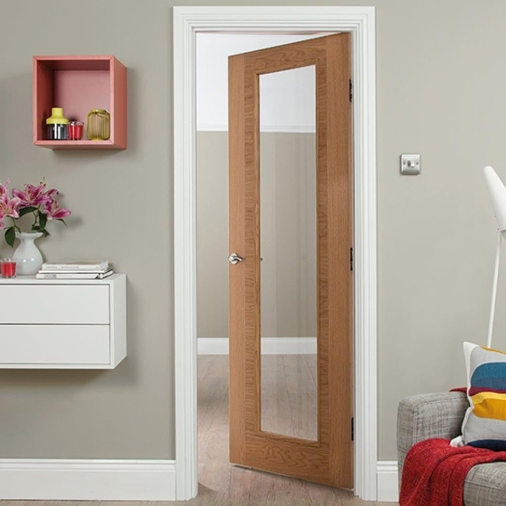 Clear glass interior doors - Internal White Oak Fusion Heavyweight 1 Light Clear Glass Door
