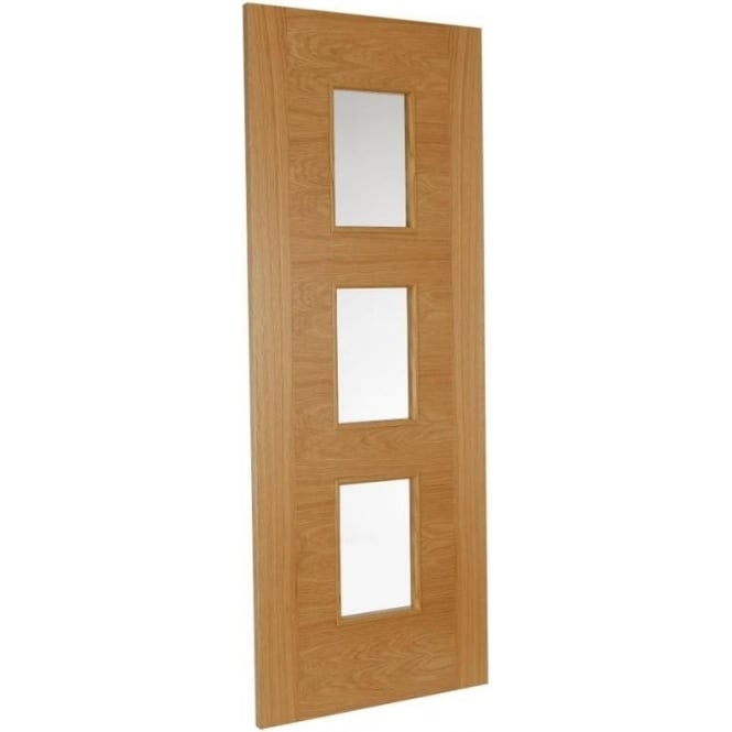 Jeld-Wen Internal White Oak Fusion Heavyweight 3 Light Clear Glass Door
