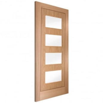 Jeld-Wen Internal White Oak Inlay 4 Light Clear Glass Door