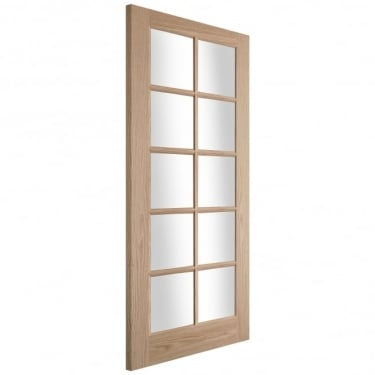 Internal White Oak Oregon 10 Light Clear Glazed Flush Bead Door