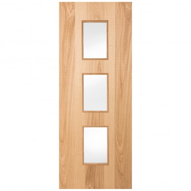Internal White Oak Textured 3 Light Clear Glass Door