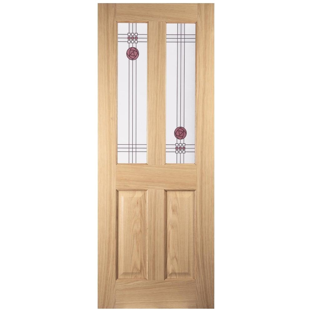 Internal White Oak Unfinished Mackintosh 2L Flush Door with Decorative Glass  sc 1 st  Leader Doors & Jeld-Wen Mackintosh Oak Un-Finished Decorative Glass 2 Light ...