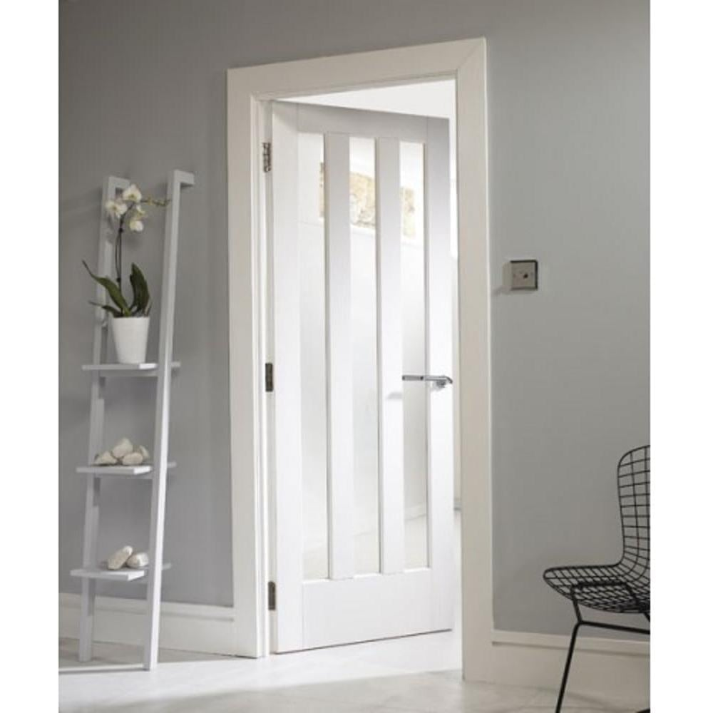 Jeld-Wen Aston White Primed Clear Glass Internal Door | Leader Doors