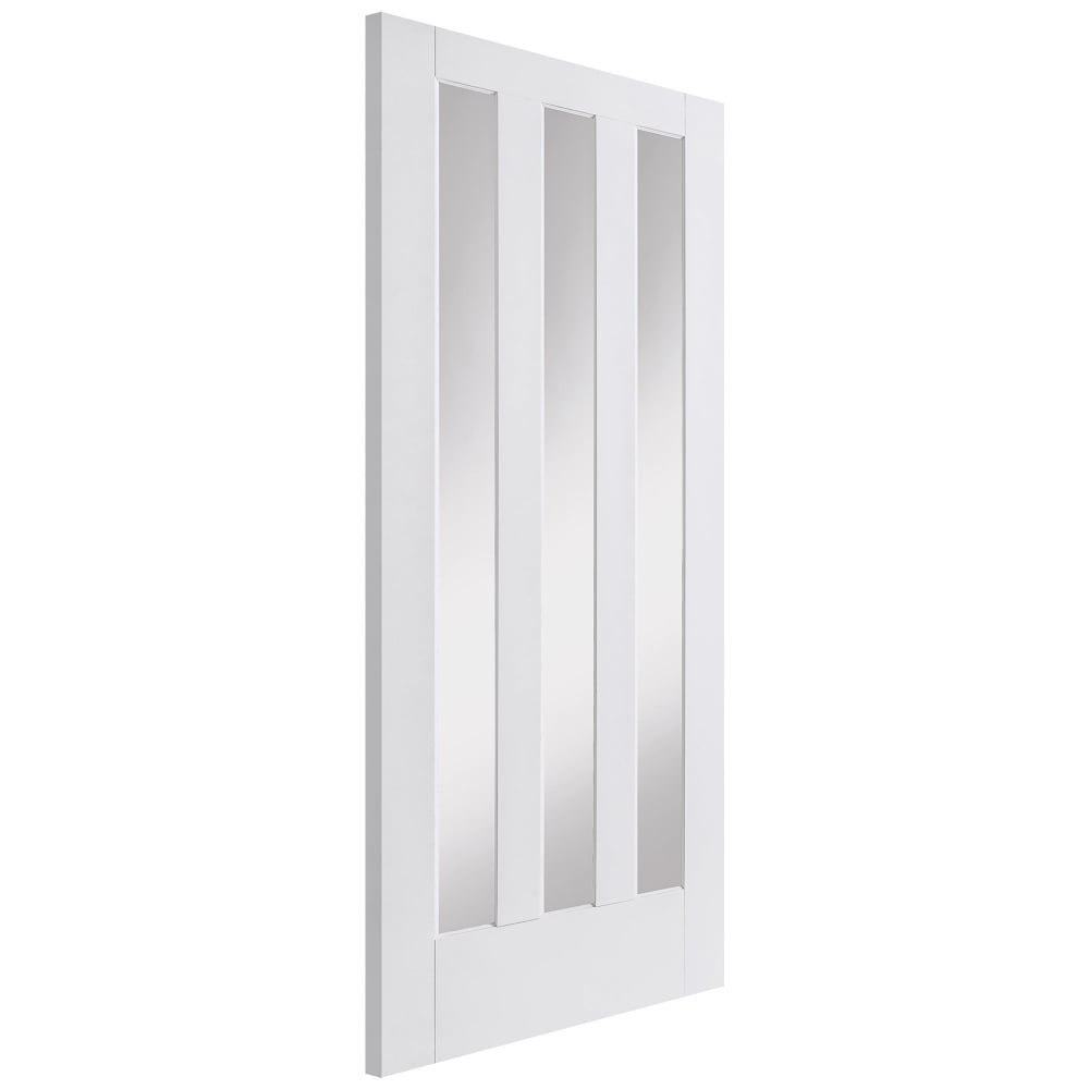 Internal White Primed Aston 3L Door With Clear Glass