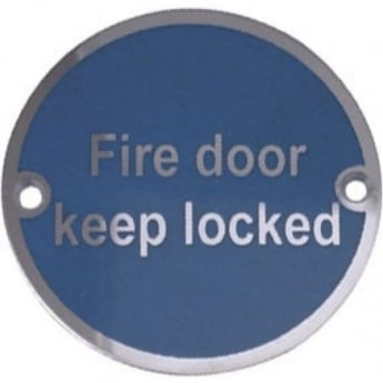 "Frelan Hardware JS101PSS Polished Stainless Steel ""Fire Door Keep Locked"" Pictogram Disc"