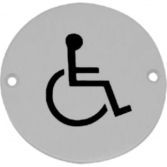 Frelan Hardware JS104PSS Polished Stainless Steel Disabled Pictogram Disc