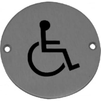 Frelan Hardware JS104SSS Satin Stainless Steel Disabled Pictogram Disc
