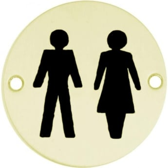 Frelan Hardware JS105PB Polished Brass Unisex Pictogram Disc