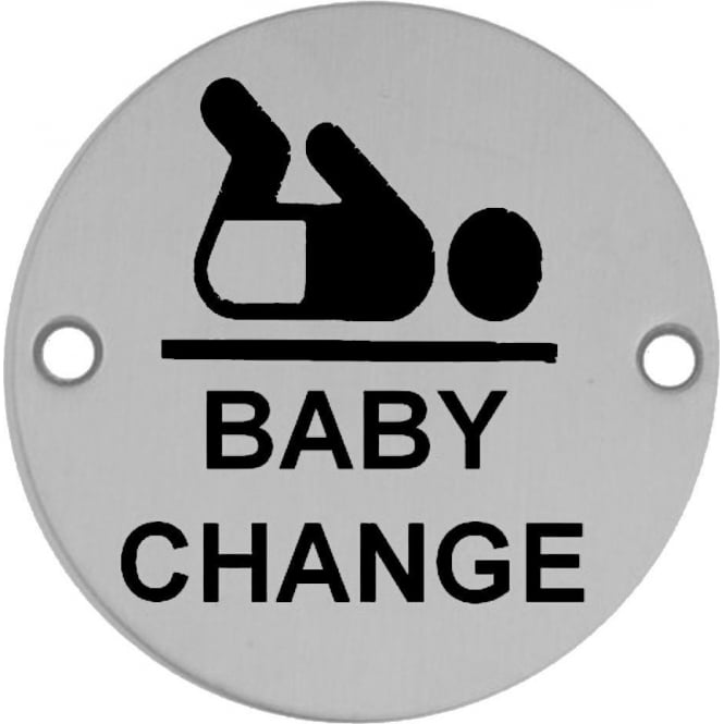 Frelan Hardware JS107PSS Polished Stainless Steel Baby Change Pictogram Disc