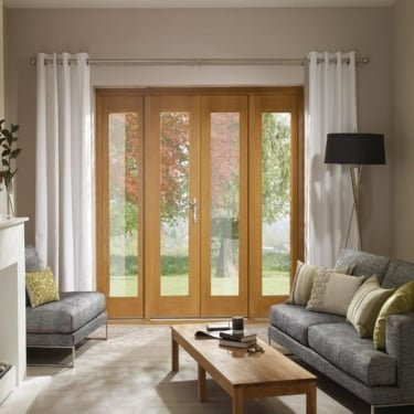 La Porte Pre-finished Oak French Door & Sidelight Frame Set