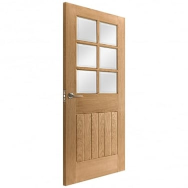 Internal Oak Unfinished Cottage 6L Door with Clear Bevelled Glass