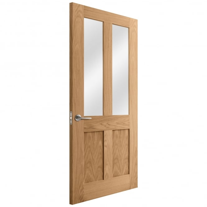 Liberty Doors Internal Oak Unfinished Victorian Shaker Door with Clear Glass