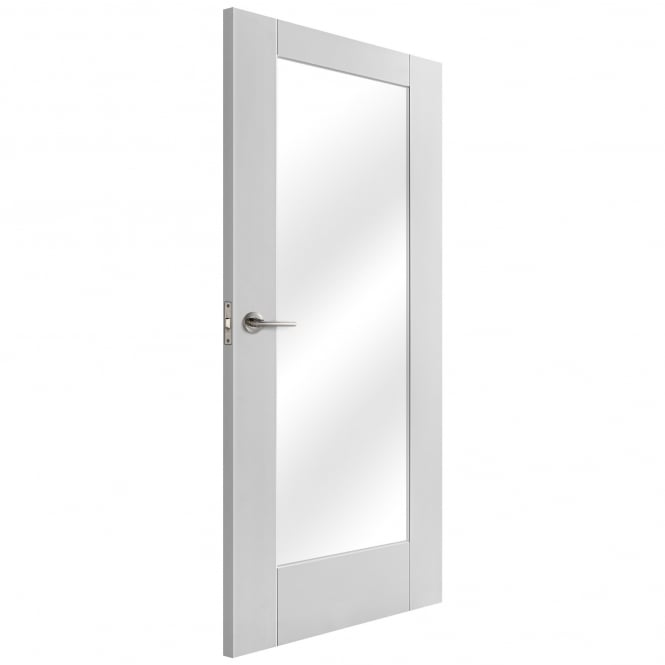 Liberty Doors Internal White Primed Pattern 10 Door with Clear Glass