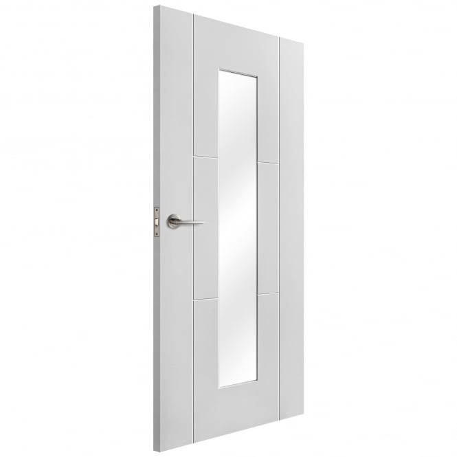 Liberty Doors Internal White Primed Trent 3 Panel Door with Clear Glass