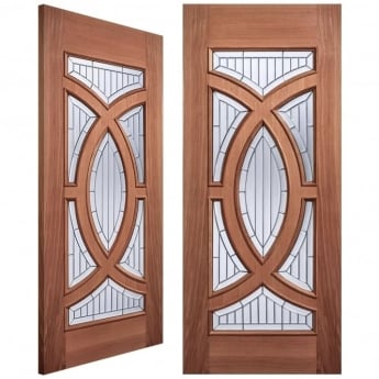 LPD Doors Adoorable Majestic Unfinished External Hardwood Pair Door with Zinc Clear Bevelled Double Glass