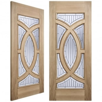LPD Doors Adoorable Majestic Unfinished External Oak Pair Door with Zinc Clear Bevelled Double Glass