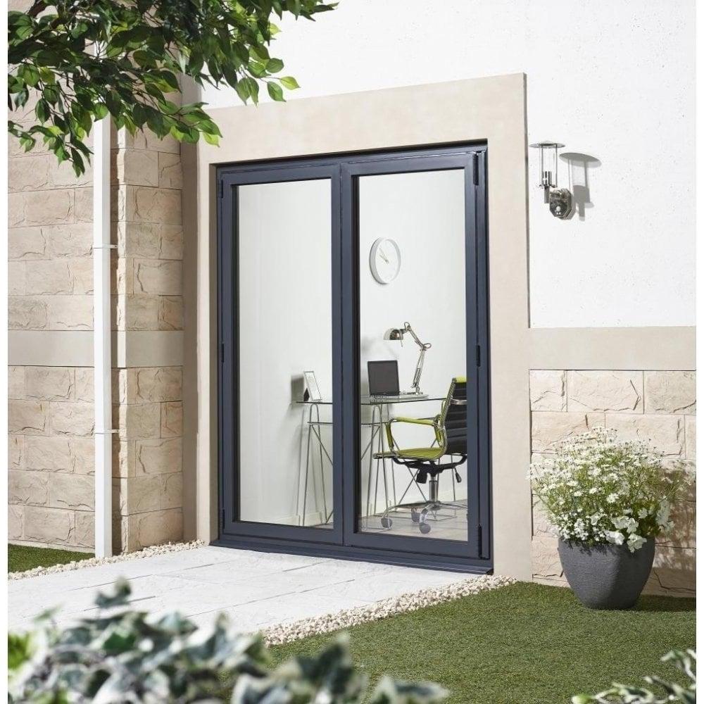 Grey aluminium aluvu clear glass door at leader doors aluvu external pre finished grey aluminium folding sliding doorset eventelaan Image collections