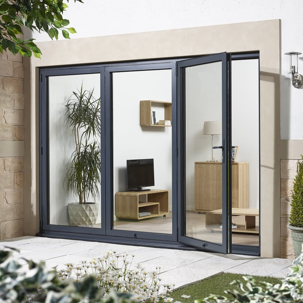 External folding sliding pre finished aluminium exterior for Aluminium patio doors
