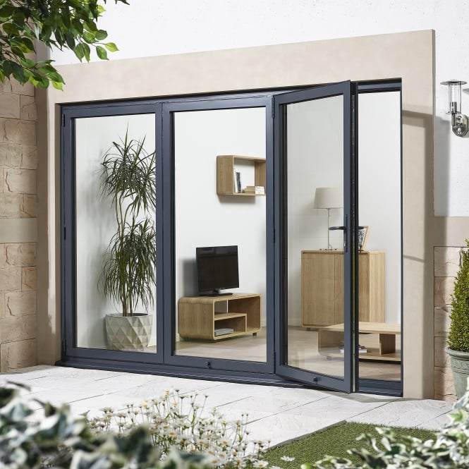 ALUVU External Pre-Finished Grey Aluminium Folding Sliding Doorset