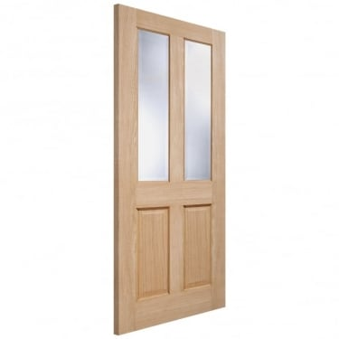 LPD Doors Elegance Richmond Unfinished Internal Oak Door with Clear Bevelled Glass