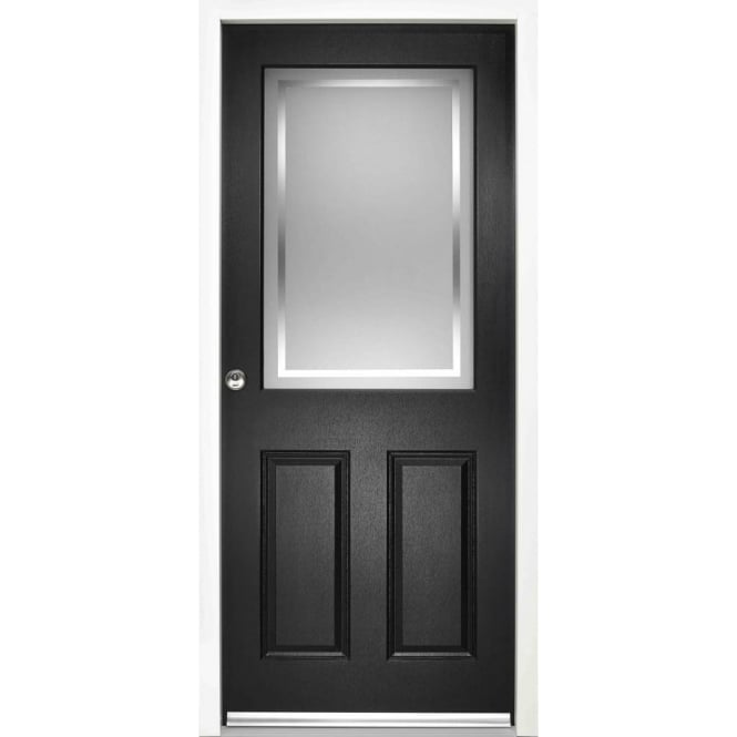 LPD Doors External 2XG2P Black Pre-finished Frosted Glass Enduradoor