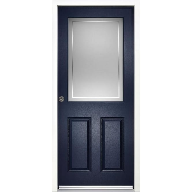 External 2XG2P Blue Fully Finished Frosted Glass Enduradoor