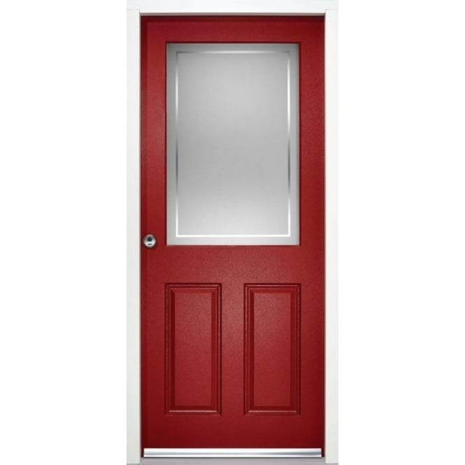 LPD Doors External 2XG2P Red Pre-finished Frosted Glass Enduradoor