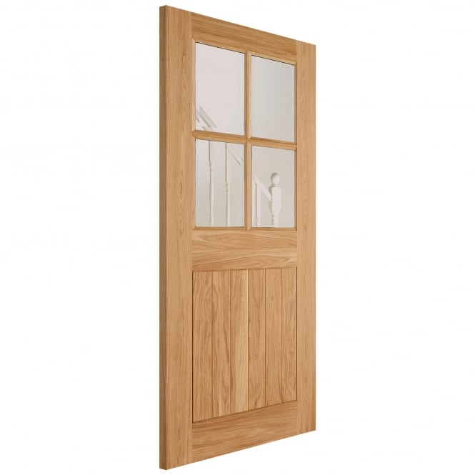 LPD Doors External Adoorable Oak Cottage 4L Door with Clear Double Glazing