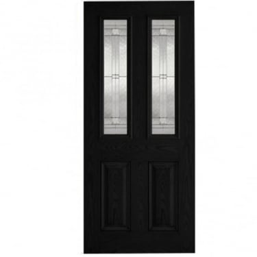 External Black GRP Malton Door With Double Leaded Glass