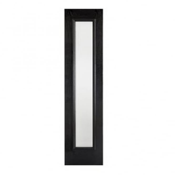 LPD External Black GRP Sidelight With Double Frosted Glass
