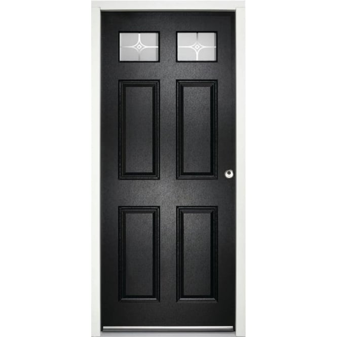 LPD Doors External Colonial 6P Black Pre-finished Frosted Glass Enduradoor