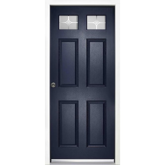 LPD Doors External Colonial 6P Blue Pre-finished Frosted Glass Enduradoor