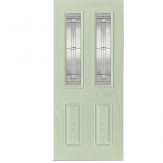 LPD External Green GRP Malton Door With Double Leaded Glass