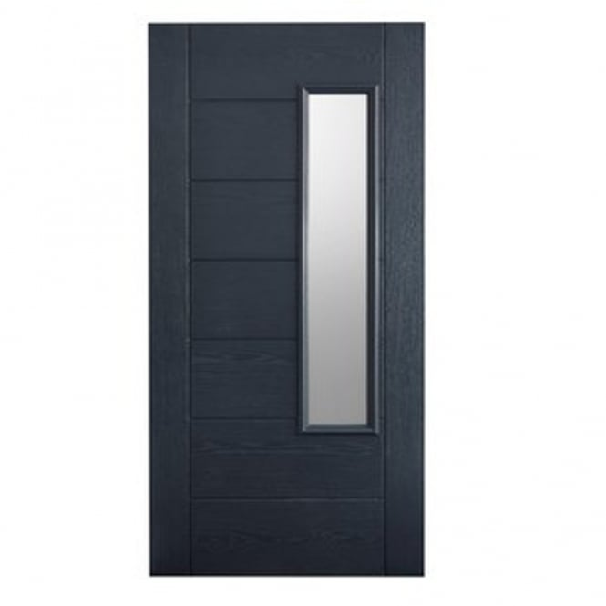 LPD External Grey GRP Newbury Door With Double Frosted Glass
