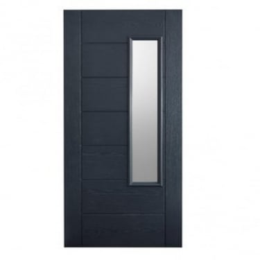 External Grey GRP Newbury Door With Double Frosted Glass