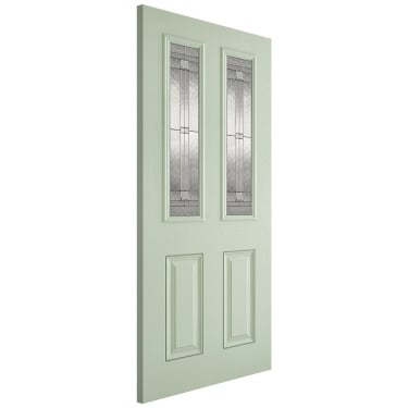External GRP Green & White Malton Door with Double Glazed Leaded Glass