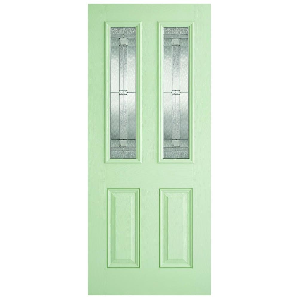 External GRP Green \u0026&; White Malton Door with Double Glazed Leaded Glass  sc 1 st  Leader Doors & LPD External GRP Green \u0026 White Malton Door with Double Glazed ...