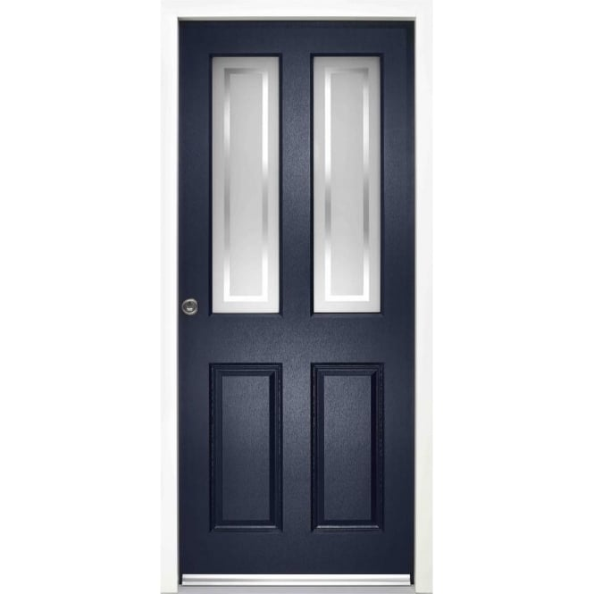External Malton Blue Fully Finished Frosted Glass Enduradoor