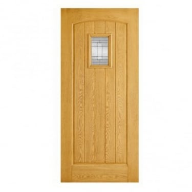 External Oak GRP Cottage Door With Double Leaded Glass