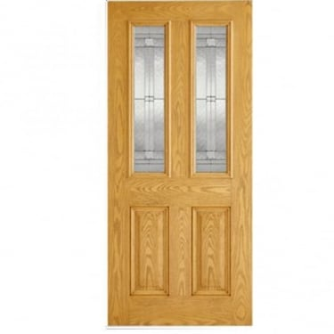 External Oak GRP Malton Door With Double Leaded Glass
