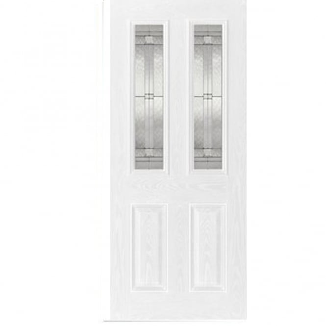 LPD External White GRP Malton Door With Double Leaded Glass